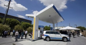 A Toyota Highlander hydrogen fuel-cell vehicle at the opening of the hydrogen filling station in Torrance, Calif. (NY Times)